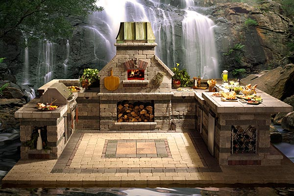 Outdoor Fireplace Kitchenh