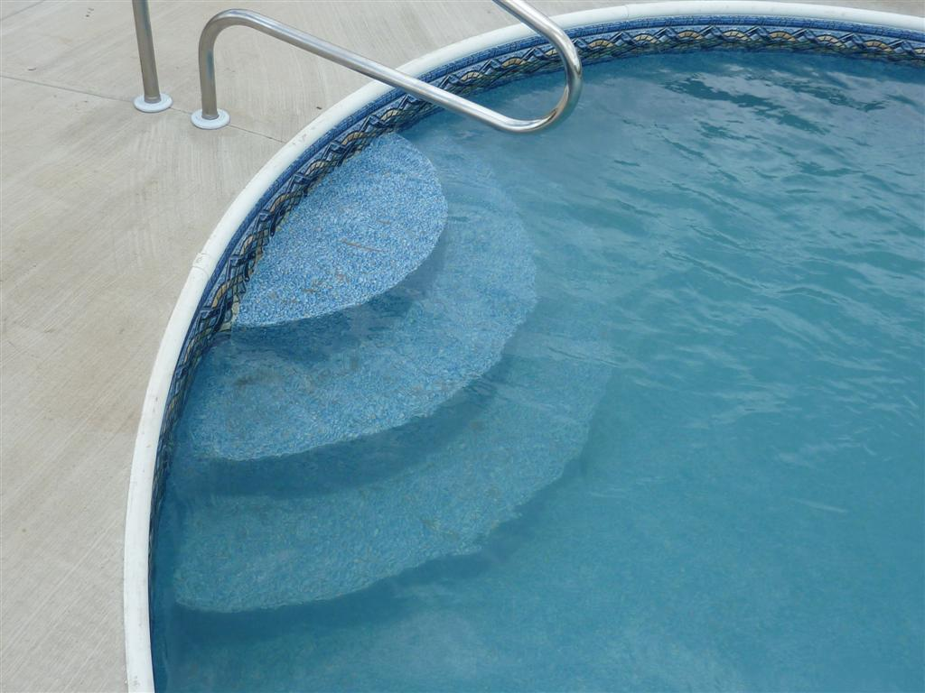 Custom steel inground swimming pool steps penguin pools - Above ground pool steps ...