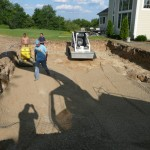 Once your Pool Dig is Level Along the Entire Dig Shelf, Leave it Sit Until it is Completely Dry.  It is Fine to work with the Next Day, but May Take up to 24 Hours.