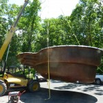 Crane or Skylift Fiberglass Pool off of the Truck