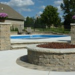 Inground Swimming Pool with Custom Fire Pit, Delafield, WI