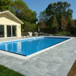 Blue Stone Paver Patio around Vinyl Liner Swimming Pool