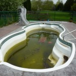 Broken, Dirty, Bulged Fiberglass Pool Installation