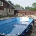 Polymer Pool Walls with New Liner Getting Water