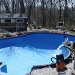 Blue Marble Liner in Waterford Gets Pool Water Added