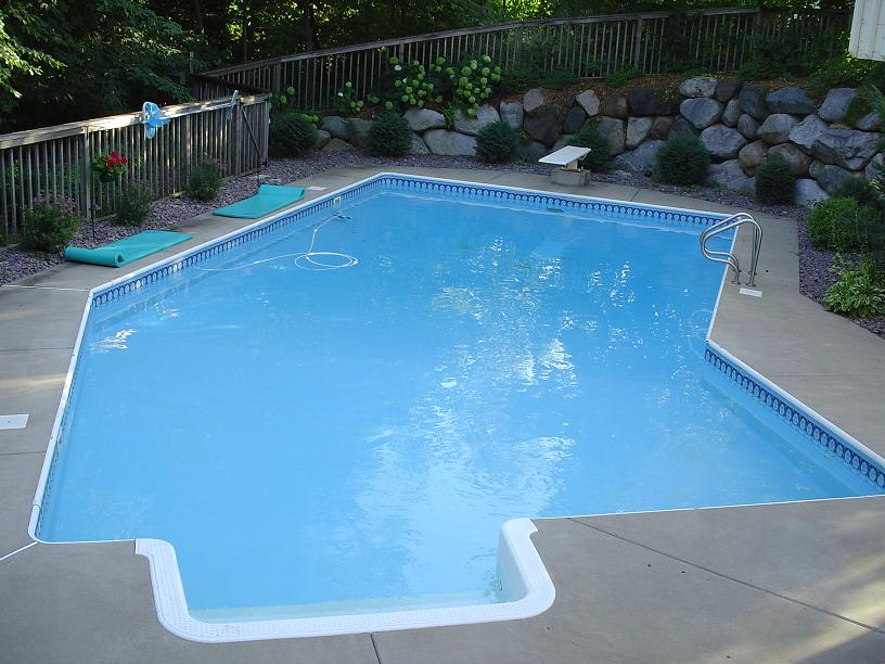 Completed inground swimming pools landscaping for Lazy l pool cover
