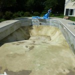 Pool Bottom Patched with Vermiculite