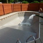 Gold Pebble Vinyl Liner Installed and Water Added in Brookfield, WI