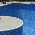 Vinyl Liner Over Island in Swimming Pool