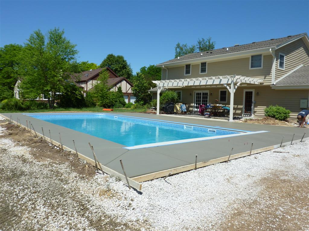 Vinyl liner pool construction installation process for Concrete inground pools