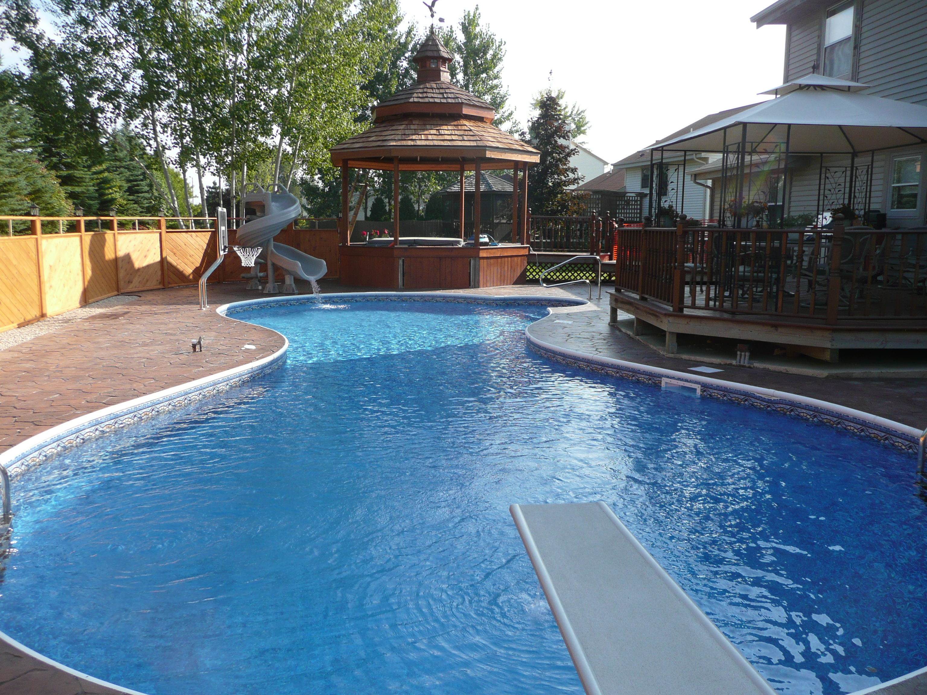 Completed inground swimming pools landscaping for Inground swimming pool plans
