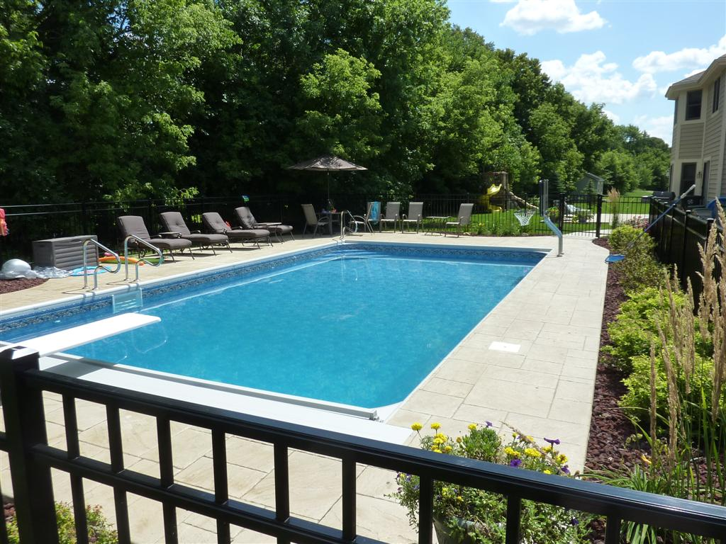 1836 rectangle with auto cover custom step stamped cocrete - Rectangle Pool