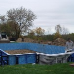 Vinyl Liner Pool Walls Installed & Staked, Merton