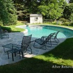 New Concrete, Vinyl Liner, and Diving Board make this Swimming Pool Look Great.