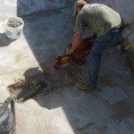 Cutting the Bottom of a Swimming Pool for Main Drains