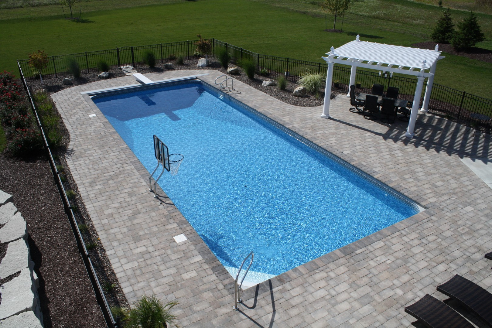 Completed inground swimming pools landscaping for Simple inground pool designs