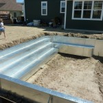 Custom Steel Pool Steps with Side Benches