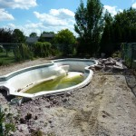 Concrete Busted Up on Fiberglass Pool in New Berlin WI