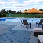 Oasis Inground Vinyl Liner Swimming Pool with Blue Stone in Cedarburg