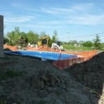 Franklin Swimming Pool Filled with Water Prior to Stone Backfill