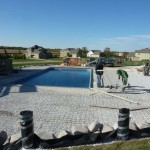 Concrete Forms with Fence Tubes around Pool