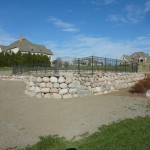 Swimming Pool Elevation with Stone Retaining Wall