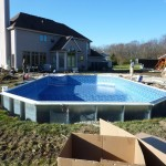 Liner Installed on Large Grecian Swimming Pool