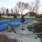 Filling Swimming Pool with Water and Winter Cover On