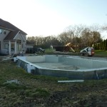 Steel Walled Grecian Swimming Pool prior to Backfill in Muskego