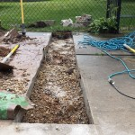 Cutting Concrete for New Swimming Pool Light Install in Cedarburg WI