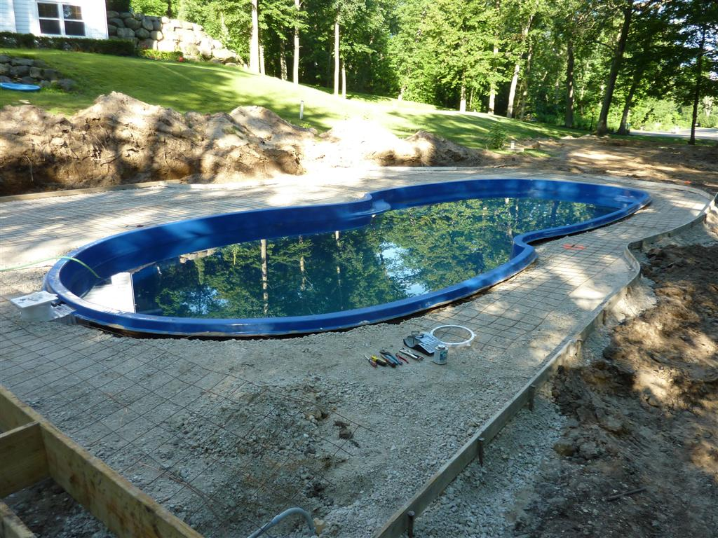 Fiberglass pool construction installation process for Concrete swimming pool