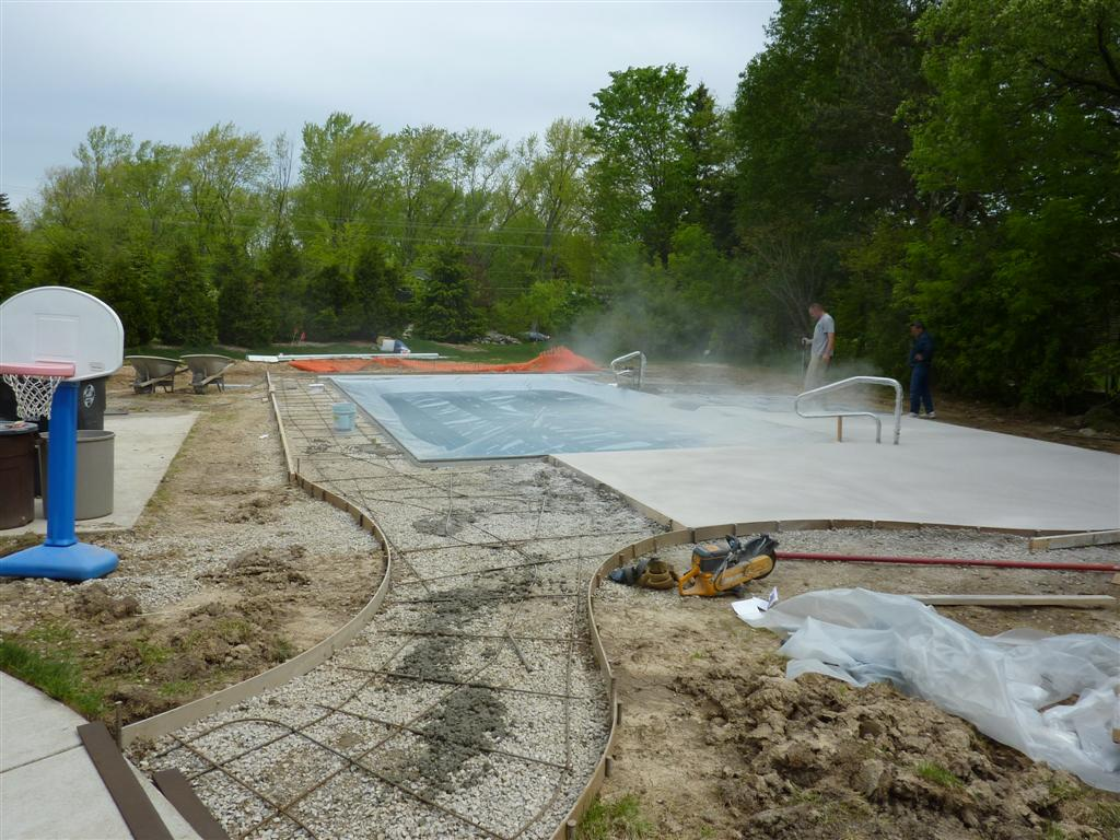 Stamp Concrete Around Vinyl Liner Pool, Menomonee Falls, WI